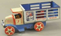 Marx Tin-Trucks Toyland dairy Mack truck, lithographed...