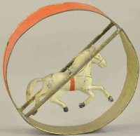 Merriam Tin-Animals Horse in hoop, early American...