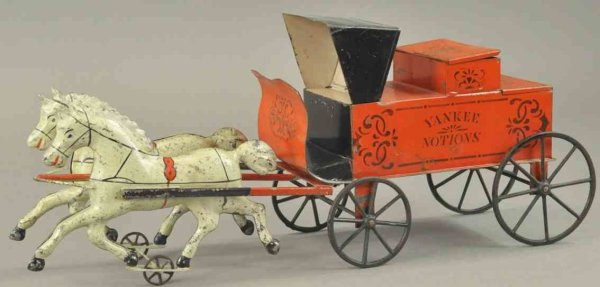 Brown George Tin-Carriages Yankee Notions horse drawn cart,  hand painted tin, drawn by