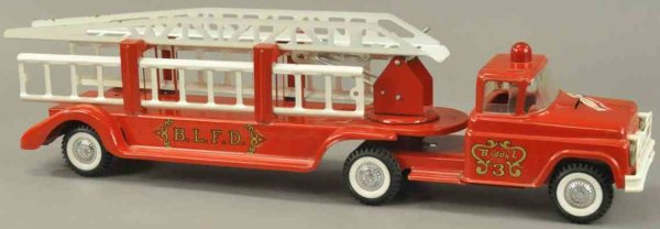 Buddy L Tin-Fire-Truck Extension ladder fire truck No. 3, pressed steel, painted in