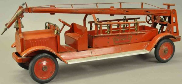 Keystone Tin-Fire-Truck Fire tower truck, pressed steel, impressive scale, painted i