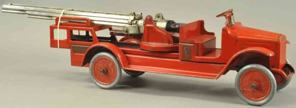 Buddy L Tin-Fire-Truck Hydraulic aerial ladder truck, pressed steel, done in red ov