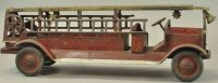 Keystone Tin-Fire-Truck Packard aerial ladder truck, low...