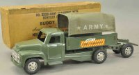 Buddy L Tin-Trucks Army transport truck with howitzer No....
