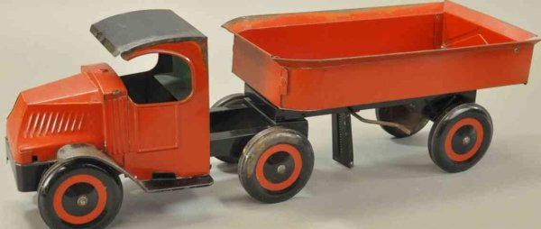 Schieble Tin-Trucks Tractor trailer dump truck, tinplate and done in red and bla