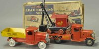 Metalcraft Corp. St Louis Tin-Trucks Road building set...