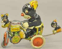 Unknown Tin-Figures Three bears on candy cycle toy,...