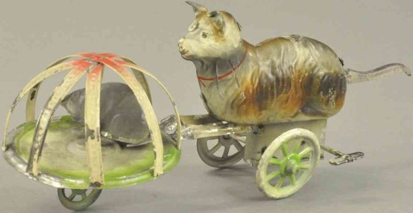 Doll Tin-Figures Cat and mouse, mechanical hand painted tin toy, Germany, lev