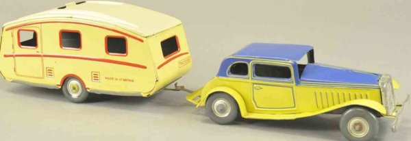 Mettoy Tin-Oldtimer Coupe and trailer, lithographed tin, colorful blue and yello