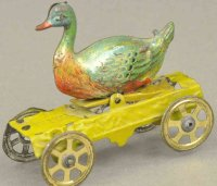Meier Tin-Penny Toy Duck on yellow platform, beautiful...
