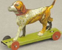 Unknown Tin-Penny Toy Dog on platform, made in Germany,...