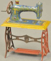 Meier Tin-Penny Toy Sewing machine, lithographed tin toy...