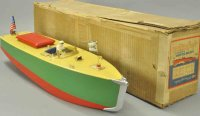 Orkin Tin-Ships Boxed motorboat, craft pressed steel...