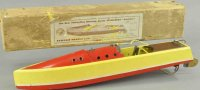 Bowman Tin-Ships Speedboat with box Swallow, wooden...