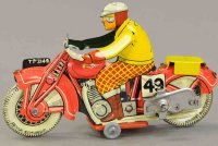 Mettoy Tin-Motorcycles Motorcycle with cicilian rider,...