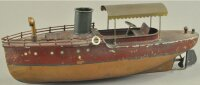 Ives Tin-Ships Clockwork lunch, brown and red hull, upper...