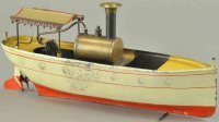 Carette Tin-Ships Live steam launch with canopy, hand...