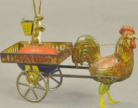 Lehmann Tin-Figures DUO #722 tin litho wind-up toy, cage...