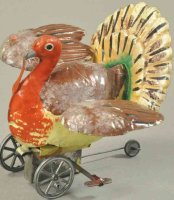 Guenthermann Tin-Animals Turkey, hand painted tin, very...