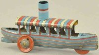 Meier Tin-Penny Toy River boat, lithographed tin,...