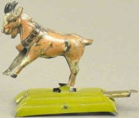 Meier Tin-Penny Toy Bucking goat on platform,...