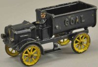 Hubley Cast-Iron trucks Coal truck, painted in black...