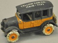 Arcade Cast-Iron Oldtimer Yellow cab with roof...