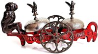 Gong Bell Cast-Iron Figures Early American 1885 bell toy...