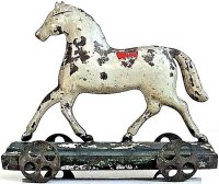 Brown George Tin-Figures Tin horse on platform, elegant...