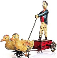 Guenthermann Tin-Figures Tin man with two ducks, wind up...