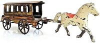 Fallows Tin-Carriages Tin horse drawn trolley with five...
