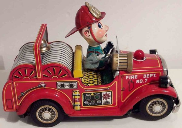 Nomura Toys Tin-Fire-Truck Battery operated fire chief car, Made in Japan, by TN Nomura