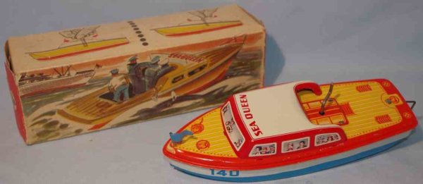 Niedermeier Philipp Tin-Ships Motorboat No. 140 in original box, made of tin, lithographed