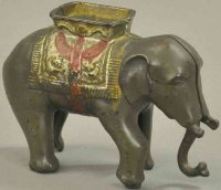 Hubley Cast-Iron-Mechanical Banks Elephant with howdah,...