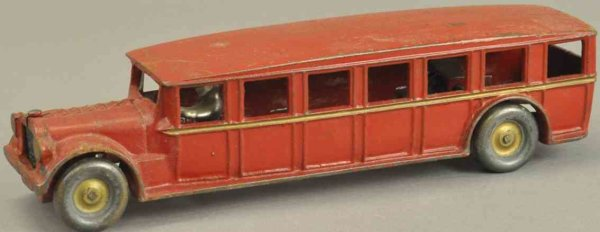 Arcade Cast-Iron buses Fageol safety coach, cast iron, painted in red overall with