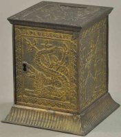 Kyser & Rex Cast-Iron-Mechanical Banks Japanese safe with...