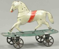 Merriam Tin-Animals Horse on platform, hand painted tin...