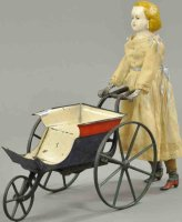 Stevens & Brown Tin-Figures Woman with clockwork carriage...