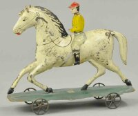 Fallows Tin-Figures Jockey on horse platform, possibly...
