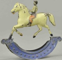 Fallows Tin-Figures Jockey on horse on rocker base,...