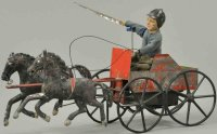 Ives Tin-Carriages Clockwork double galloper, original...