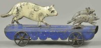 Fallows Tin-Animals Cat chasing mice on platform as pull...