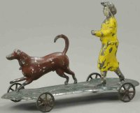 Hull & Stafford Tin-Figures Lady and dog on platform,...