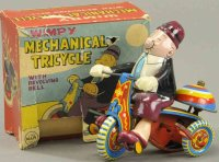 Linemar Tin-Figures Wimpy on tricycle with box, all tin...