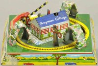 Linemar Tin-Toys Honeymoon Cottage, lithographed tin,...