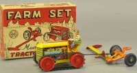 Marx Tin-Toys Boxed farm set, tractor and mover,...