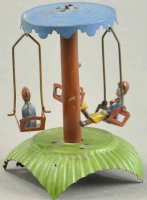 Unknown Tin-Penny Toy Roundabout swing, features three...