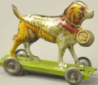 Meier Tin-Penny Toy St. Bernard dog on green platform,...