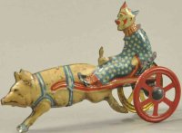 Unknown Tin-Penny Toy Clown and pig, scarce, lithographed...