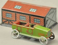 Fischer Georg Tin-Penny Toy Garage with auto, touring...